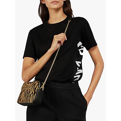 Image of Ted Baker Abbee Slogan Cotton T-Shirt, Black