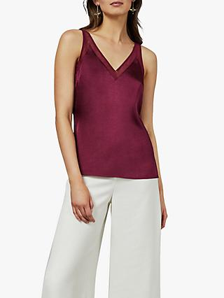 Ted Baker Lilyane V-Neck Mesh Cami Top, Red Bordeaux