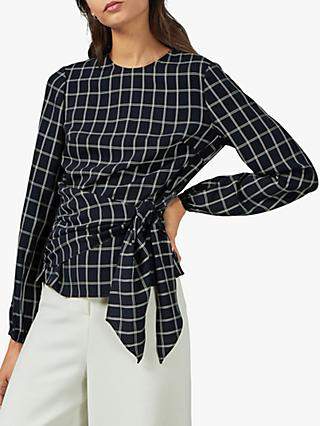 Ted Baker Toulaa Check Tie Waist Top, Dark Blue