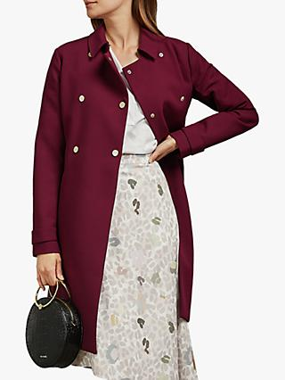 Ted Baker Beauy Double Breasted Trench Coat, Bordeaux Red