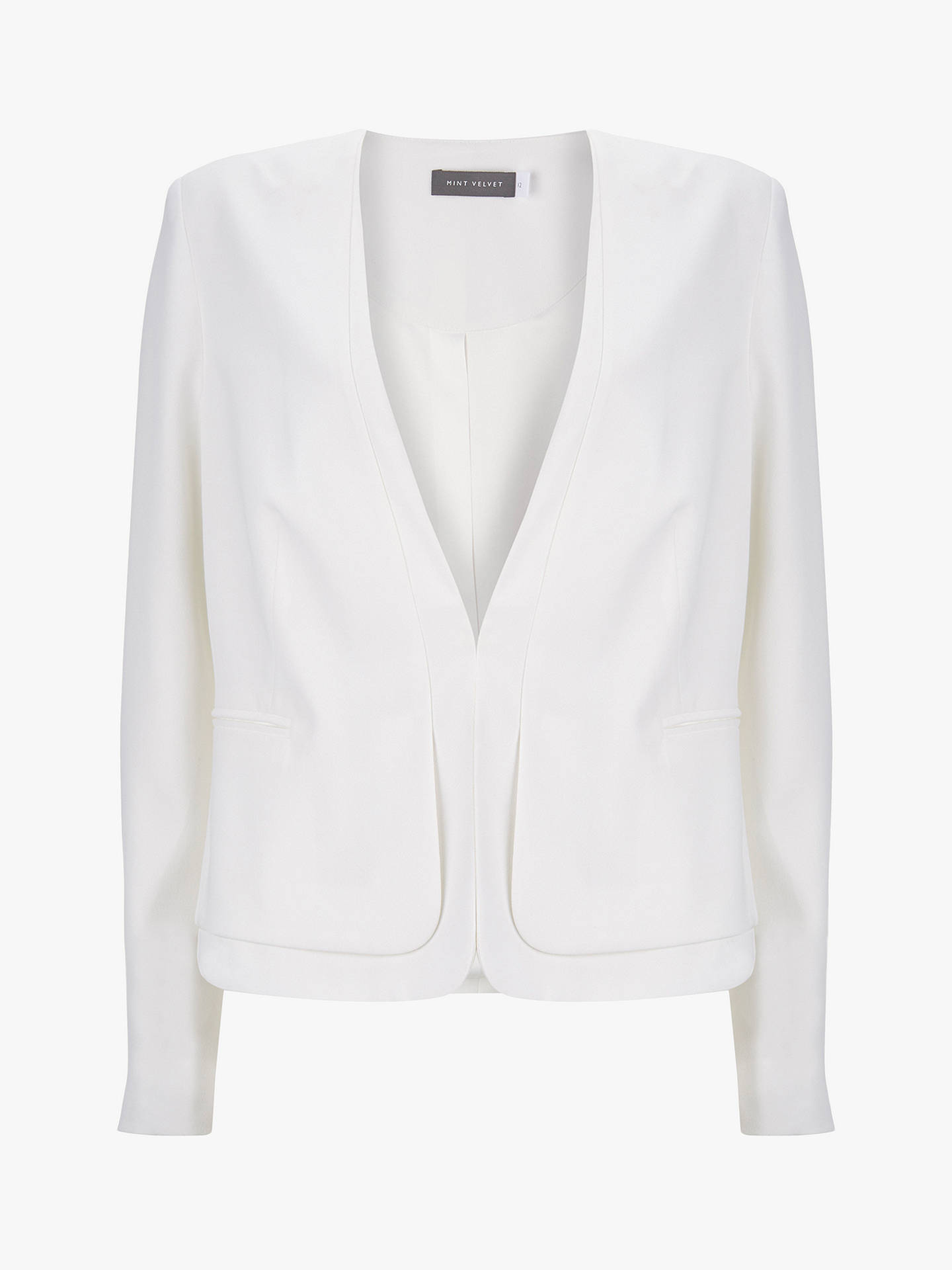 Buy Mint Velvet Clean Cut Crepe Blazer, Ivory, 12 Online at johnlewis.com