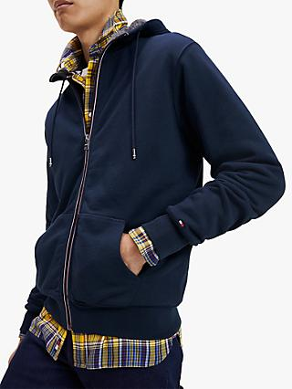 Tommy Jeans Faux Fur Lined Cotton Hoodie, Sky Captain