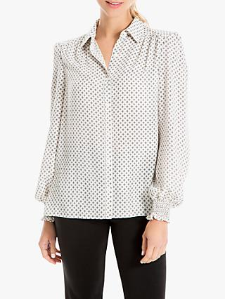 Max Studio Printed Long Sleeve Blouse, Ivory/Black