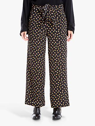 Max Studio Printed Wide Leg Trousers, Black/Gold