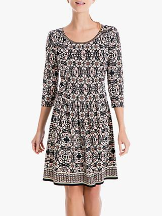 Max Studio Half Sleeve Printed Jersey Dress, Black/Blush