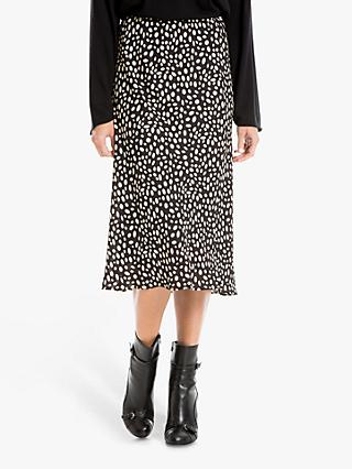 Max Studio Spot Print Skirt, Black/Clay