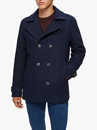 SELECTED HOMME Recycled Wool Peacoat, Dark Sapphire