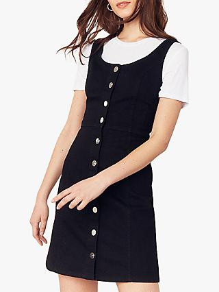 Oasis Sleeveless Button Through Denim Dress, Black