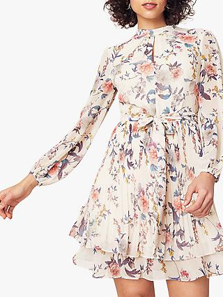 Oasis Tiered Floral Dress, Natural/Multi