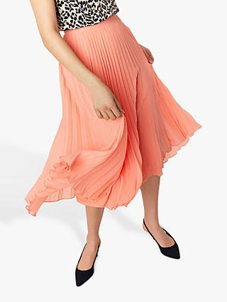 Oasis Pleated Skirt, Soft Orange