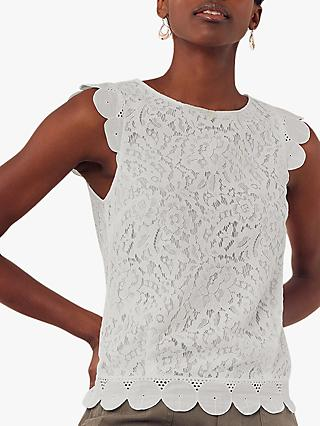 Oasis Lace Broderie Top, Off White