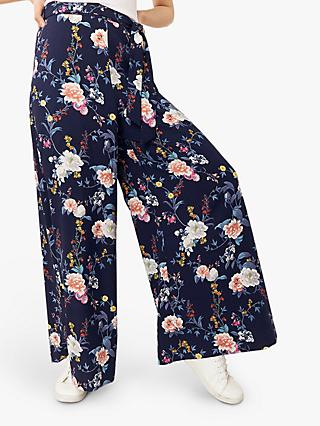 Oasis Floral Wide Leg Trousers, Multi