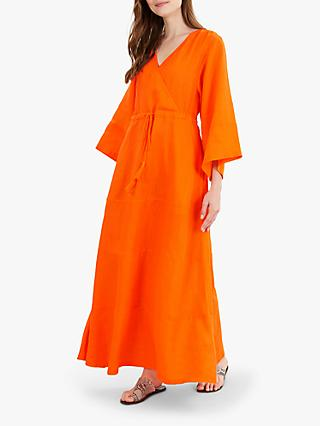 Jaeger Linen Gauze Dress, Orange