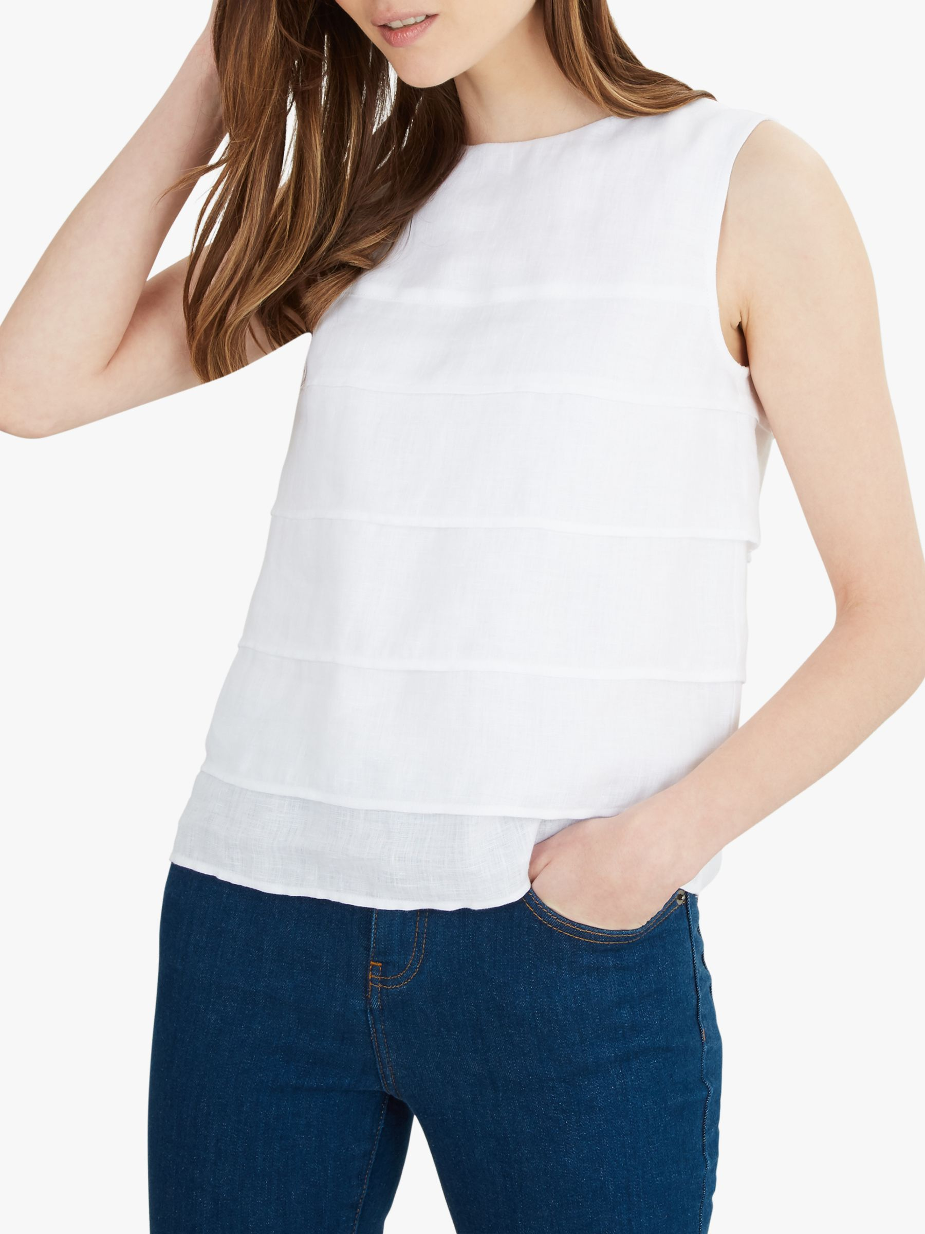 Jaeger Jaeger Linen Collarless Top, White