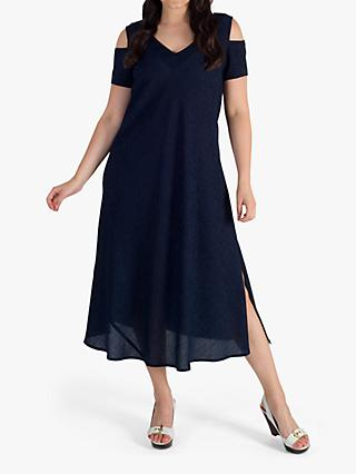 chesca Cold Shoulder V-Neck Crinkle Dress, Navy