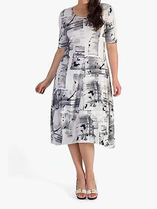 Chesca Brush Stroke Print Jersey Dress, Ivory/Grey