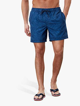 Joules Heston Palm Leaf Print Swim Shorts, Blue