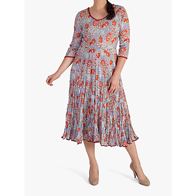 Image of chesca Trim Tiered Floral Print Crushed Cotton Dress, Coral