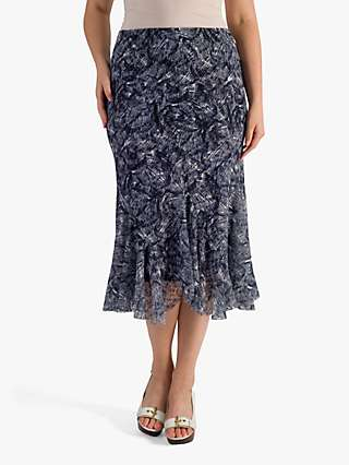 Chesca Printed Stretch Lace Curve Panel Skirt, Navy/Ivory