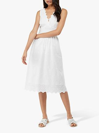 Monsoon Axel Broderie Dress, White