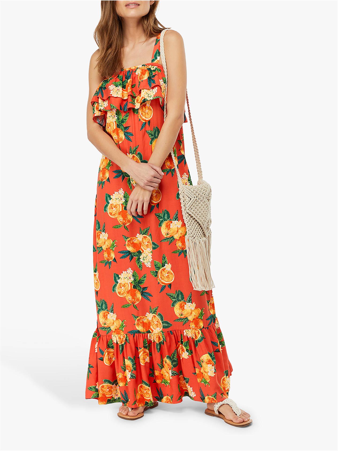 09a50a4d668 Buy Monsoon Laranja Orange Print Maxi Dress, Orange, S Online at  johnlewis.com ...
