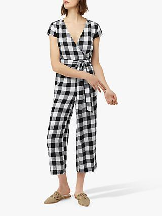 Monsoon Alaska Linen Check Jumpsuit, Black