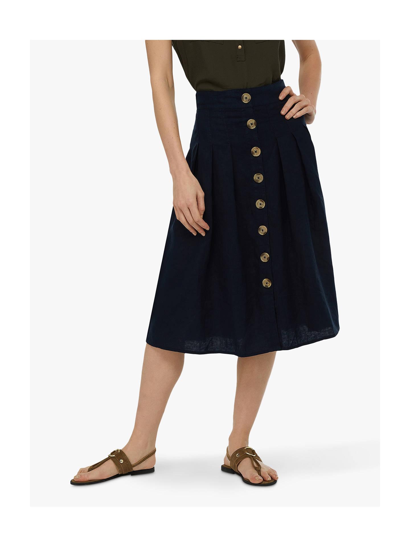 5e4050b340 Buy Monsoon Tilly Fixed Linen Midi Skirt, Navy, 8 Online at johnlewis.com  ...