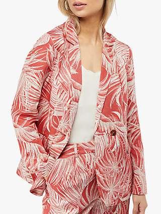 Monsoon Nancy Printed Linen Jacket, Orange/Multi