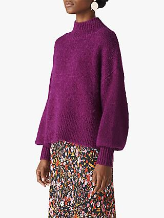Whistles Blouson Sleeve Jumper, Purple