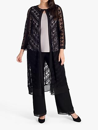 chesca Chiffon Trim Chevron Stripe Lace Coat, Black