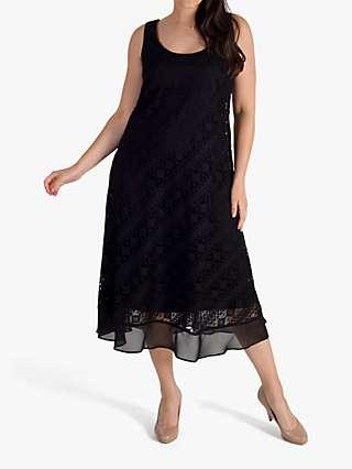Chesca Chiffon Trim Diagonal Stripe Lace Dress, Black