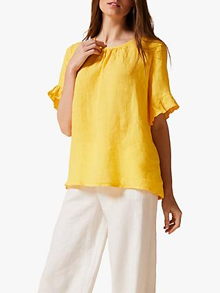 Phase Eight Celeyst Linen Blouse, Yellow