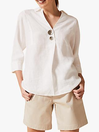 Phase Eight Brogan Linen Shirt, White