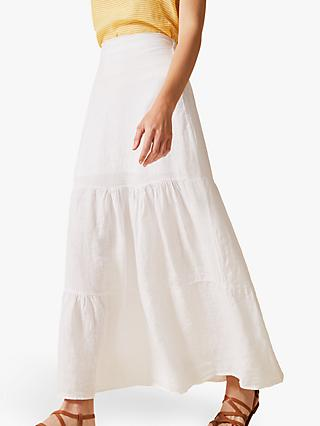 Phase Eight Arvinder Linen Skirt, White