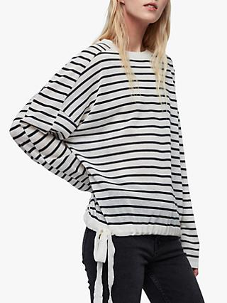 AllSaints Salina Stripe Jumper, Chalk White/Ink Navy