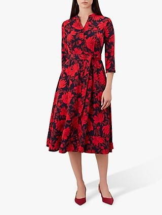 Hobbs Ciara Floral Print Dress, Navy/Red