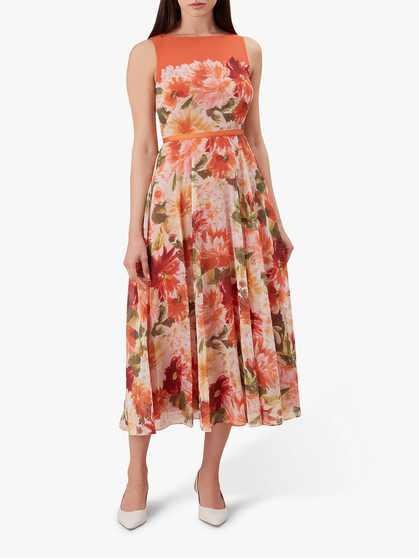 807f395e4945a Hobbs Carly Dahlia Floral Print Midi Dress, Orange at John Lewis ...