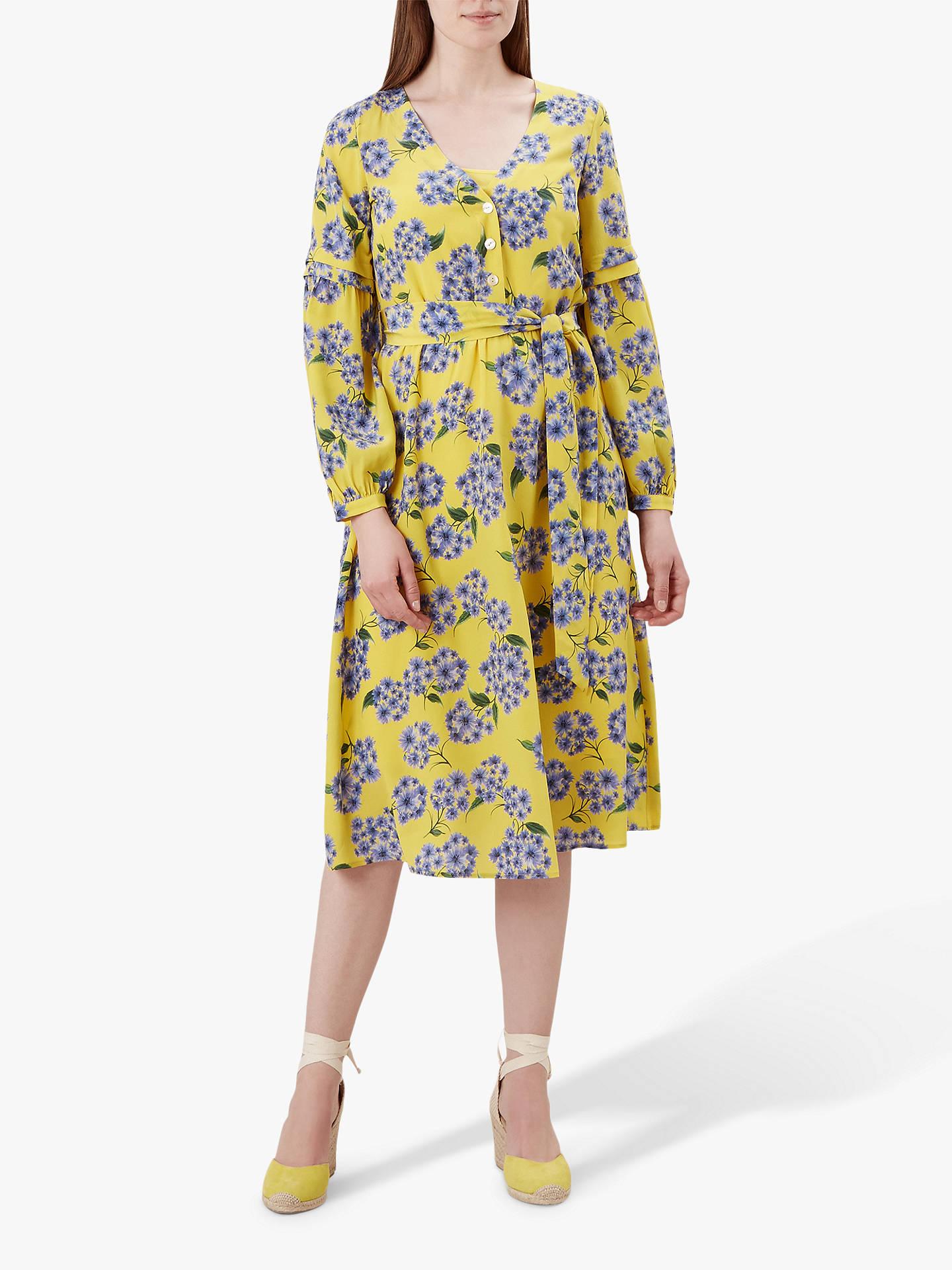 ec00a1167191d Hobbs Cara Floral Print Silk Dress, Yellow/Blue