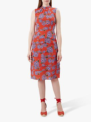 Hobbs Polly Silk Dress, Red Multi
