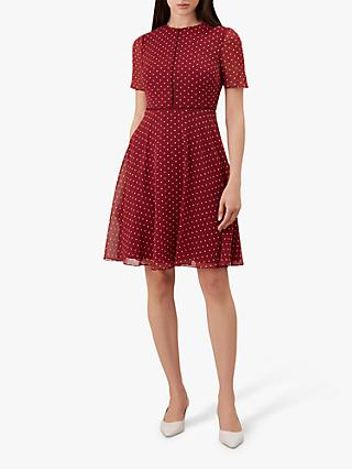 Hobbs Cecily Spot Dress, Burgundy/Ivory
