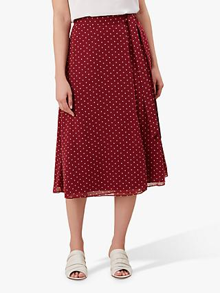 Hobbs Julie Wrap Skirt, Burgundy