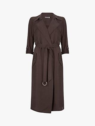Mint Velvet Soft Longline Trench Coat, Brown