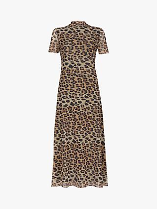 Mint Velvet Leopard Mesh Dress, Multi