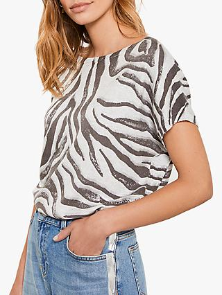 Mint Velvet Zebra Print Batwing Knit Tee, Light Grey