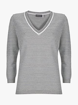 Mint Velvet Striped V-Neck Knit Jumper, Multi