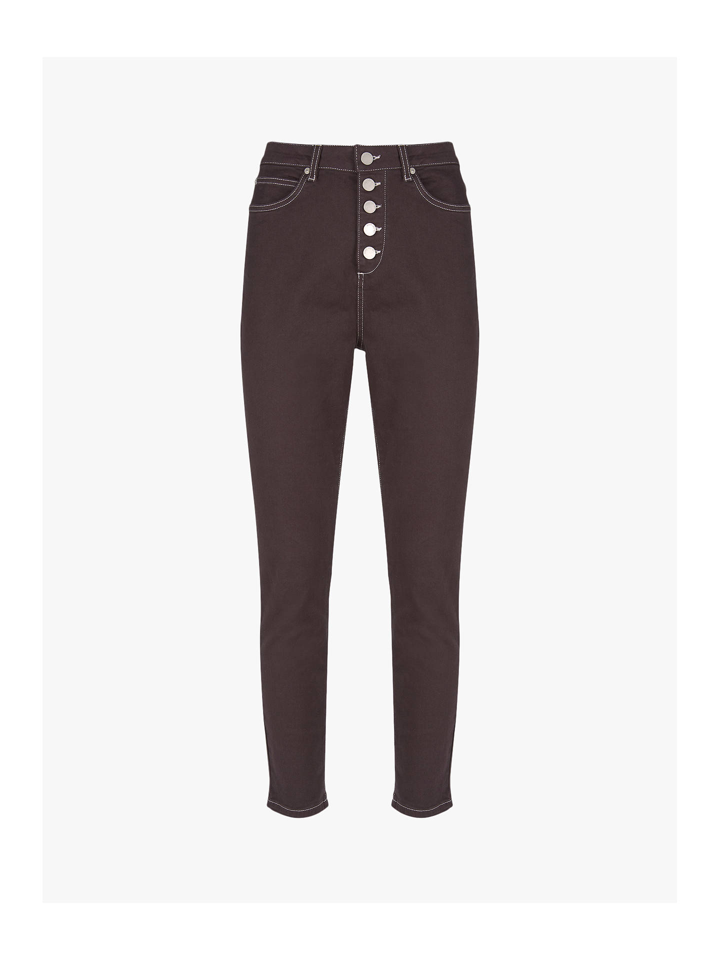 Buy Mint Velvet Joliet Chocolate Button Fly Jeans, Dark Brown, 6S Online at johnlewis.com