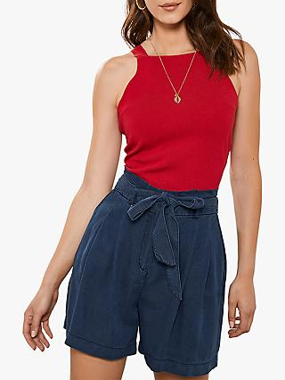 Mint Velvet Square Neck Top, Red