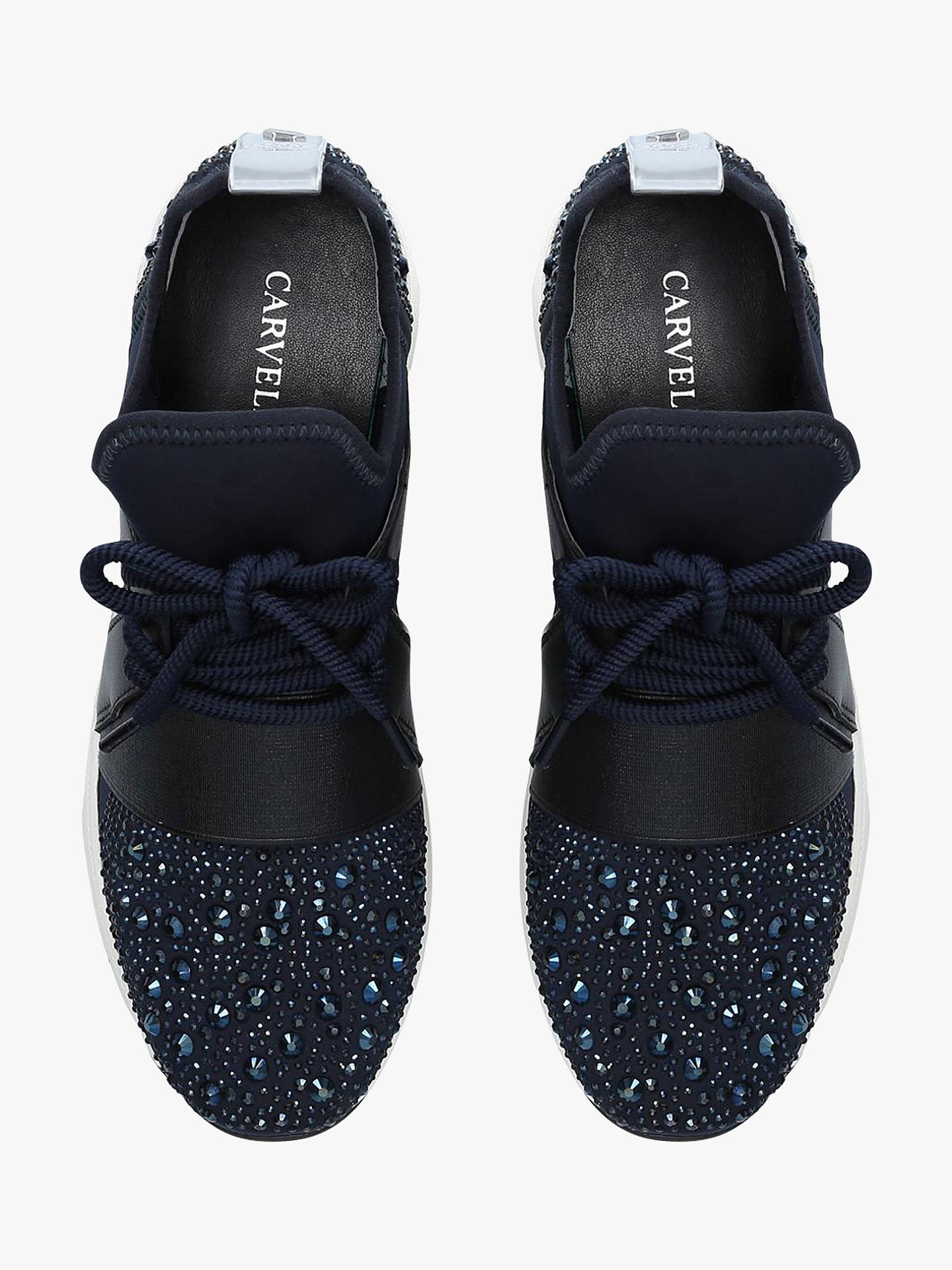 Buy Carvela Lament Bling Lace Up Trainers, Blue Navy, 3 Online at johnlewis.com
