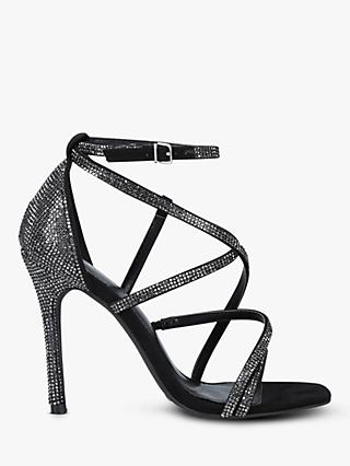 Carvela Ginger Sparkly Stiletto Heel Strappy Sandals, Black