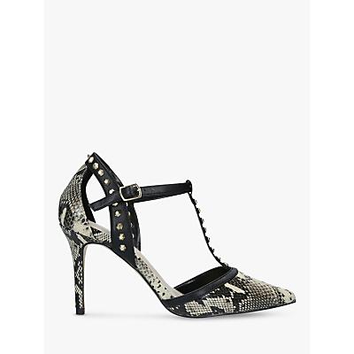 Carvela Kankan Snake Print Studded T-Bar Court Shoes, Neutral/Multi